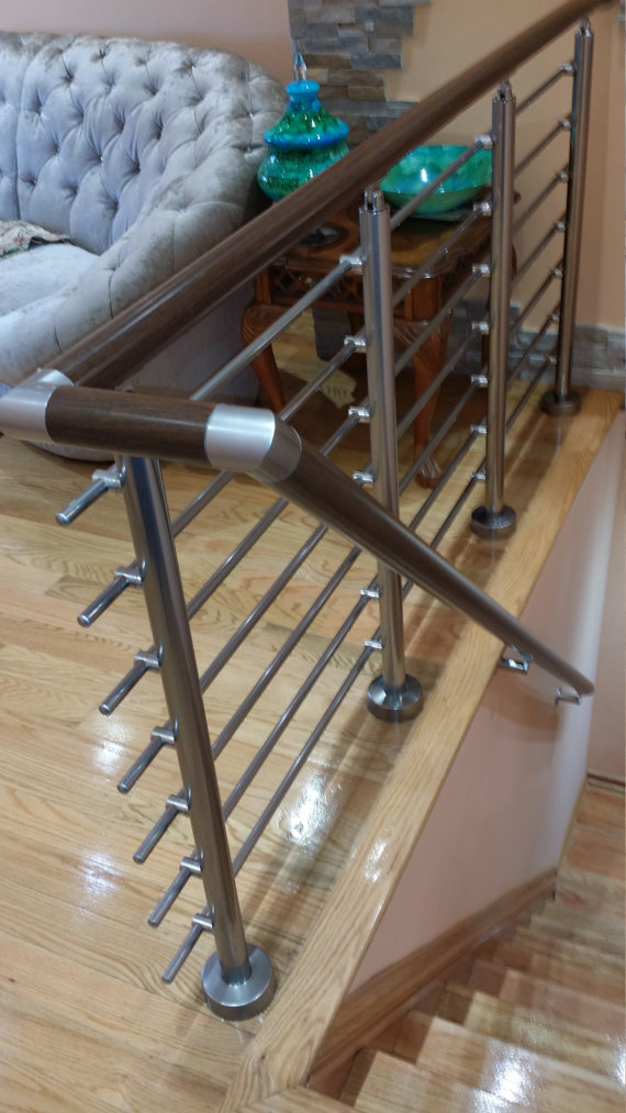 Wall Mount Modern Stair Hand Rail Staircase Railing Kit   Aluminium    RailingCo